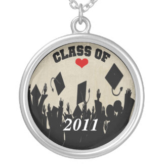 Cap Tossing Crown-Graduation Class of 2011 Silver Plated Necklace