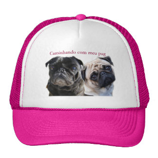 cap walking with mine pug