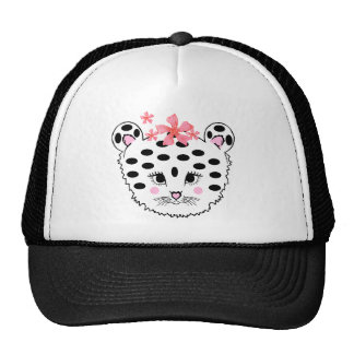Cap with Baby Girl Snow Leopard