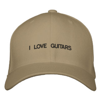 Cap with I LOVE GUITARS on the front of it.