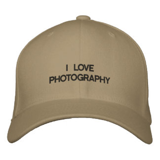 Cap with I LOVE PHOTOGRAPHY on the front. Embroidered Hat