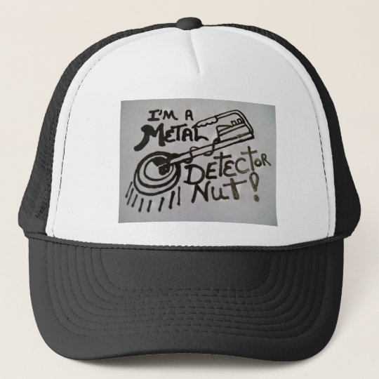 Cap with metal detector design on front of