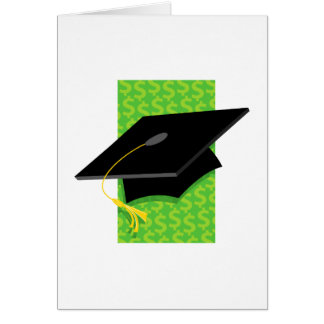 Cap with Money Background Greeting Card