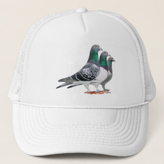 Cap with trio of carrier pigeons