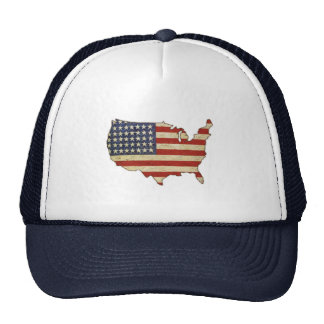 Cap with Vintage American Flag Mesh Hats
