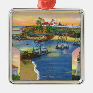 Cape Arago Bridge and Lighthouse Mouth Silver-Colored Square Decoration