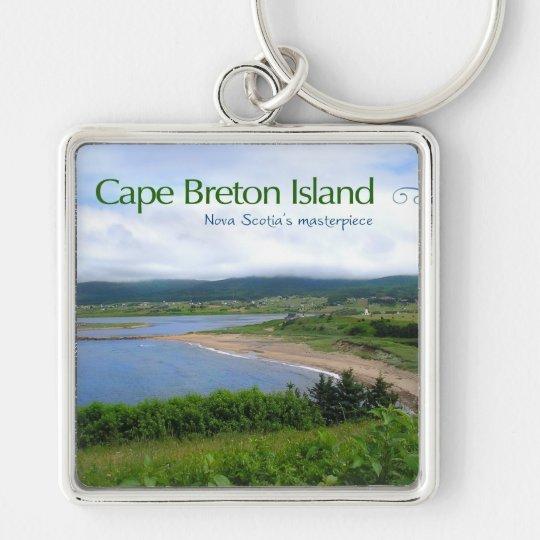 Cape Breton Island Silver-Colored Square Key Ring
