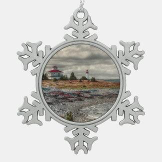 Cape Breton Lighthouse Nova Scotia Canada Snowflake Pewter Christmas Ornament