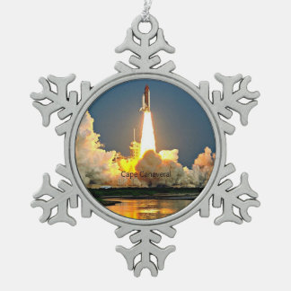 Cape Canaveral Florida Launch Pad Pewter Snowflake Decoration