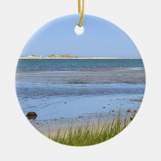 Cape Cod Bay ocean beach Round Ceramic Decoration
