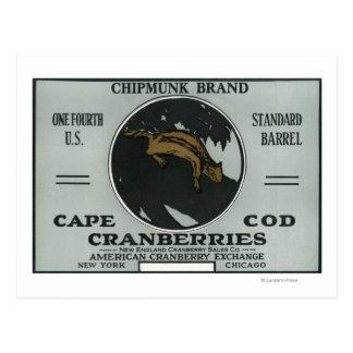 Cape Cod Chipmunk Brand Cranberry Label Postcard