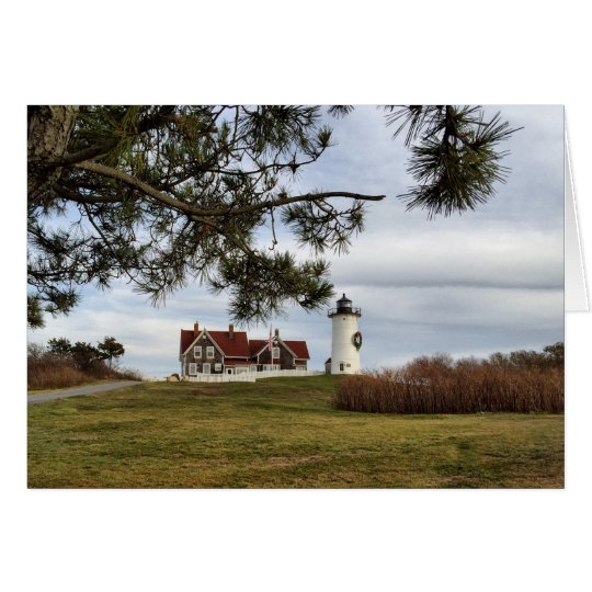 Cape Cod Lighthouse Christmas Greeting Card