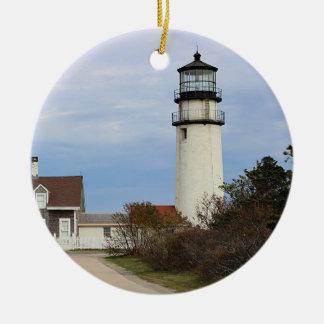 Cape Cod lighthouse Round Ceramic Decoration