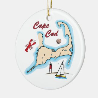 Cape Cod Map Illustration Lobster Sailboat Shell Christmas Ornament