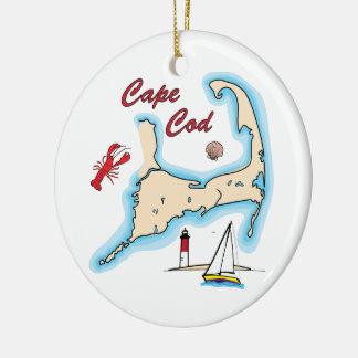 Cape Cod Map Illustration Lobster Sailboat Shell Round Ceramic Decoration