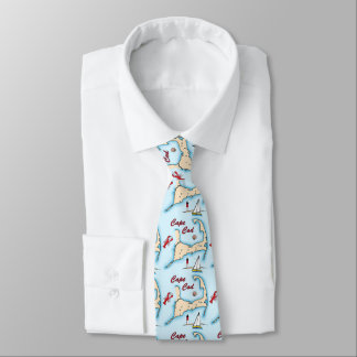 Cape Cod Map Illustration Lobster Sailboat Shell Tie