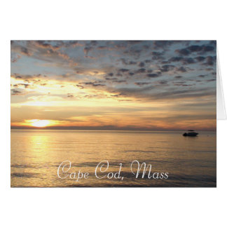 """Cape Cod, Mass. Ocean Sunset """"Thinking of You"""" Card"""