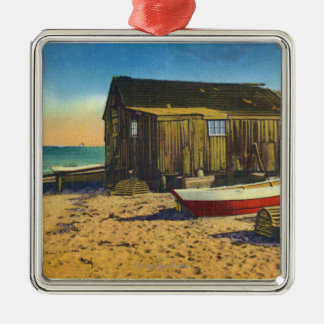 Cape Cod, MassachusettsView of a Lobster Shack Silver-Colored Square Decoration