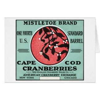 Cape Cod Mistletoe Brand Cranberry Label Card