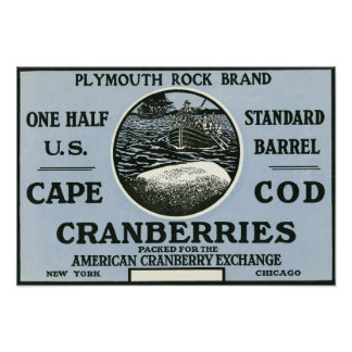 Cape Cod Plymouth Rock Brand Cranberry Label Poster
