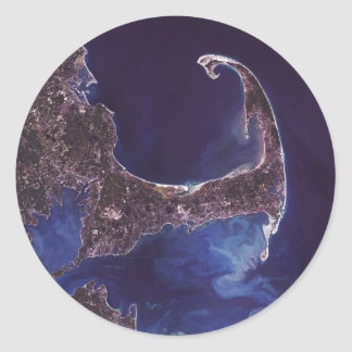 Cape Cod Satellite Photograph Classic Round Sticker