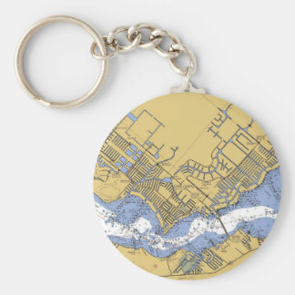 Cape Coral, Florida Nautical Harbor chart Keychain