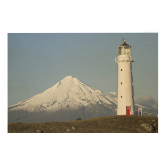 Cape Egmont Lighthouse and Mt Taranaki / Mt Wood Print
