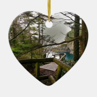 Cape Flattery Trail Olympic Peninsula Ceramic Heart Decoration