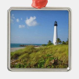Cape Florida Lighthouse Silver-Colored Square Decoration