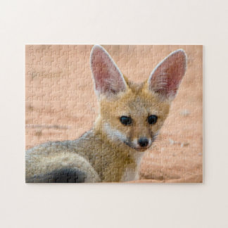 Cape Fox (Vulpes Chama) Pup Peers Inquisitively Jigsaw Puzzle