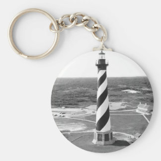 Cape Hatteras Lighthouse black and white photo Basic Round Button Key Ring