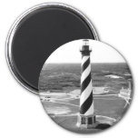 Cape Hatteras Lighthouse black and white photo 6 Cm Round Magnet