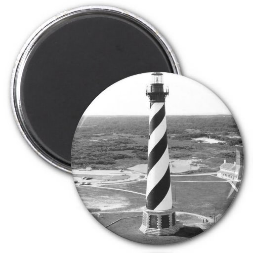 Cape Hatteras Lighthouse black and white photo Refrigerator Magnets