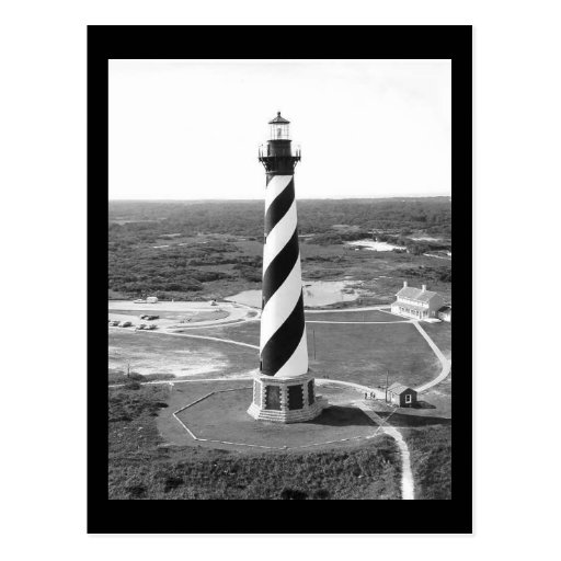 Cape Hatteras Lighthouse black and white photo Post Cards