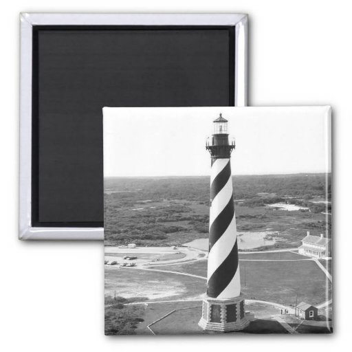 Cape Hatteras Lighthouse black and white photo Square Magnet