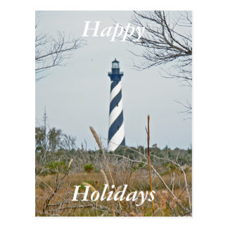 Cape Hatteras Lighthouse Happy Holidays Postcard
