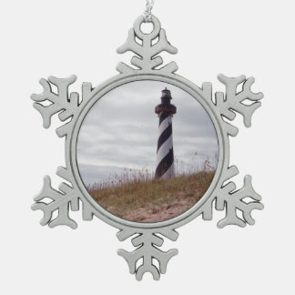 Cape Hatteras Lighthouse Snowflake Pewter Christmas Ornament