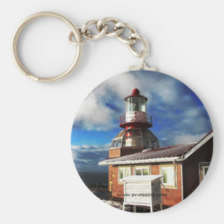 Cape Horn Lighthouse, Chile (Larger image) Basic Round Button Key Ring