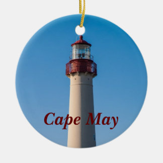 Cape May Light Round Ceramic Decoration