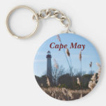 Cape May lighthouse Basic Round Button Key Ring