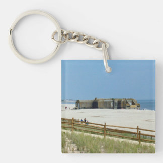 Cape May Lighthouse & Bunker Double-Sided Square Acrylic Key Ring