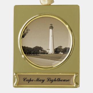 Cape May Lighthouse Gold Plated Banner Ornament