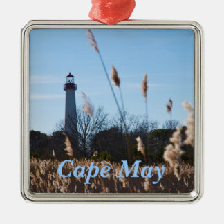 Cape May lighthouse Silver-Colored Square Decoration
