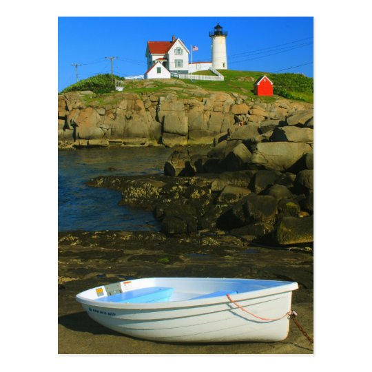 Cape Neddick Lighthouse and Boat Postcard