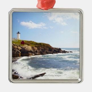 Cape Neddick 'Nubble' Lighthouse in Maine Silver-Colored Square Decoration