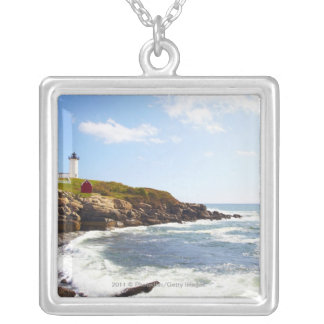 Cape Neddick 'Nubble' Lighthouse in Maine Silver Plated Necklace