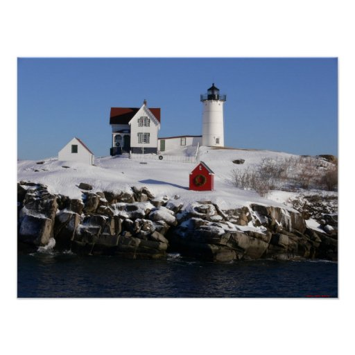 Cape Neddick ( Nubbles ) Lighthouse Winter-Print Poster