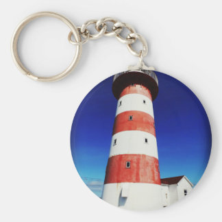Cape Pine Lighthouse Basic Round Button Key Ring