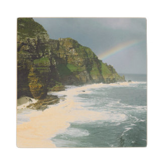 Cape Point On Stormy Day With Rainbow Wood Coaster