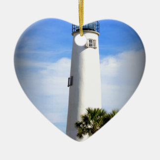 CAPE ST. GEORGE LIGHTHOUSE - ST. GEORGE ISLAND, FL CERAMIC HEART DECORATION